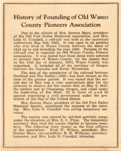 History of Founding of Old Wasco County Pioneers Association copy